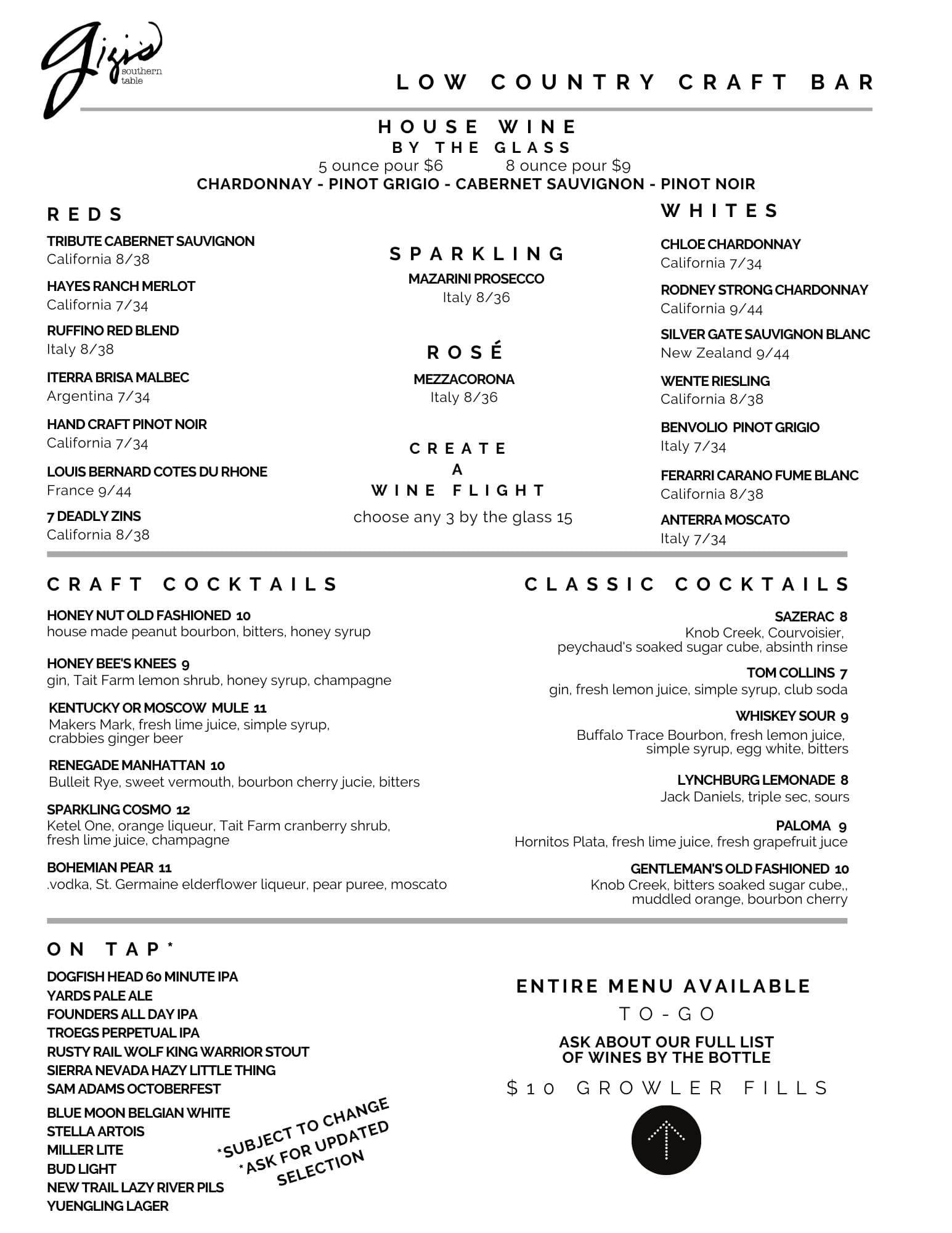 Gigi's Cocktail Menu