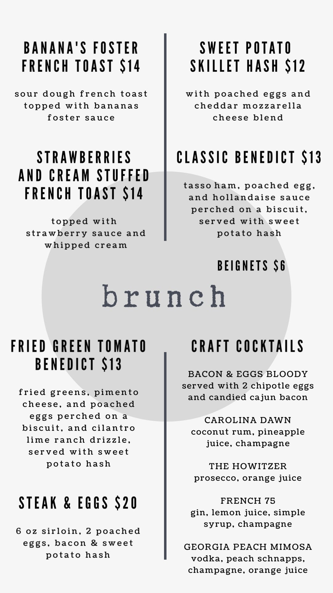 Gigi's Brunch Menu