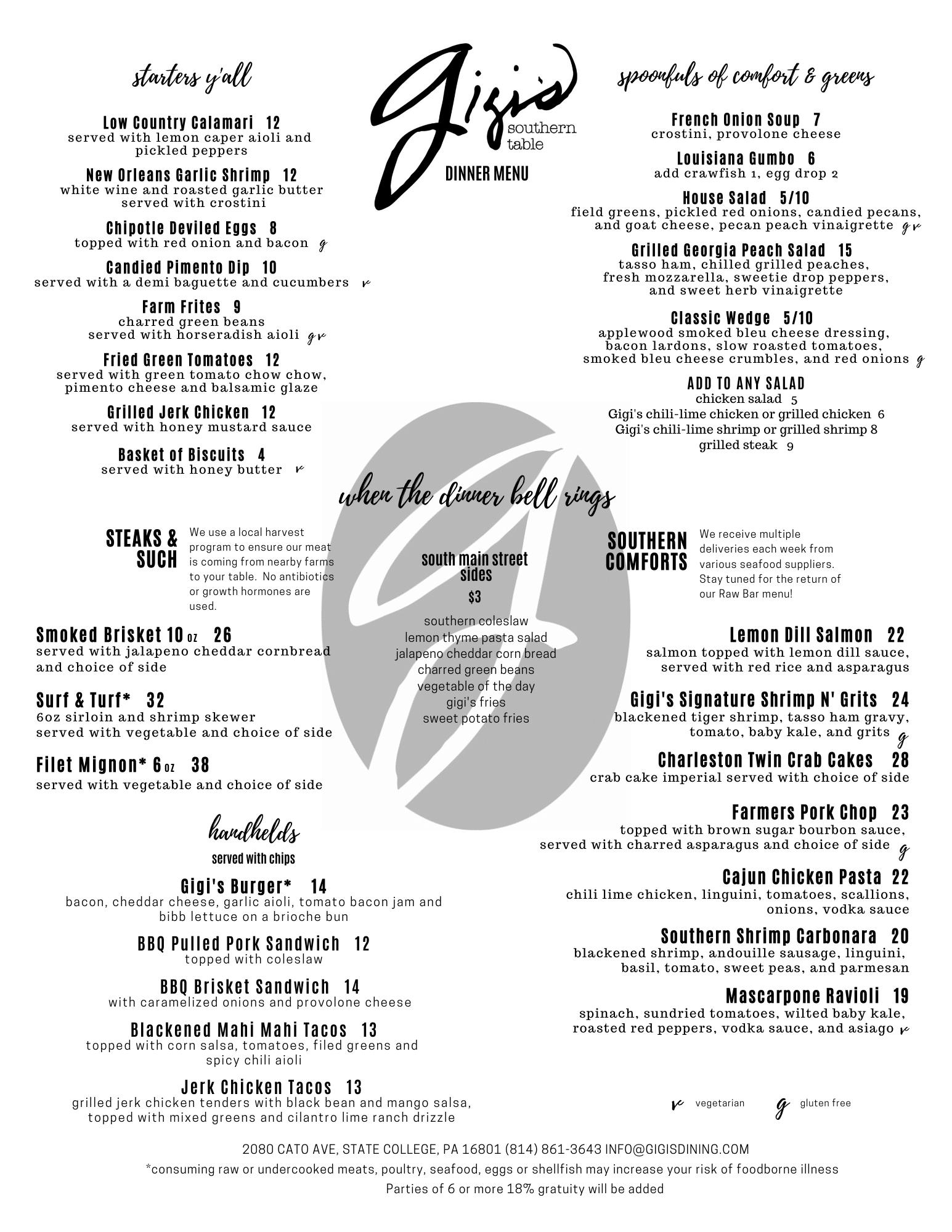 Gigi's dinner menu