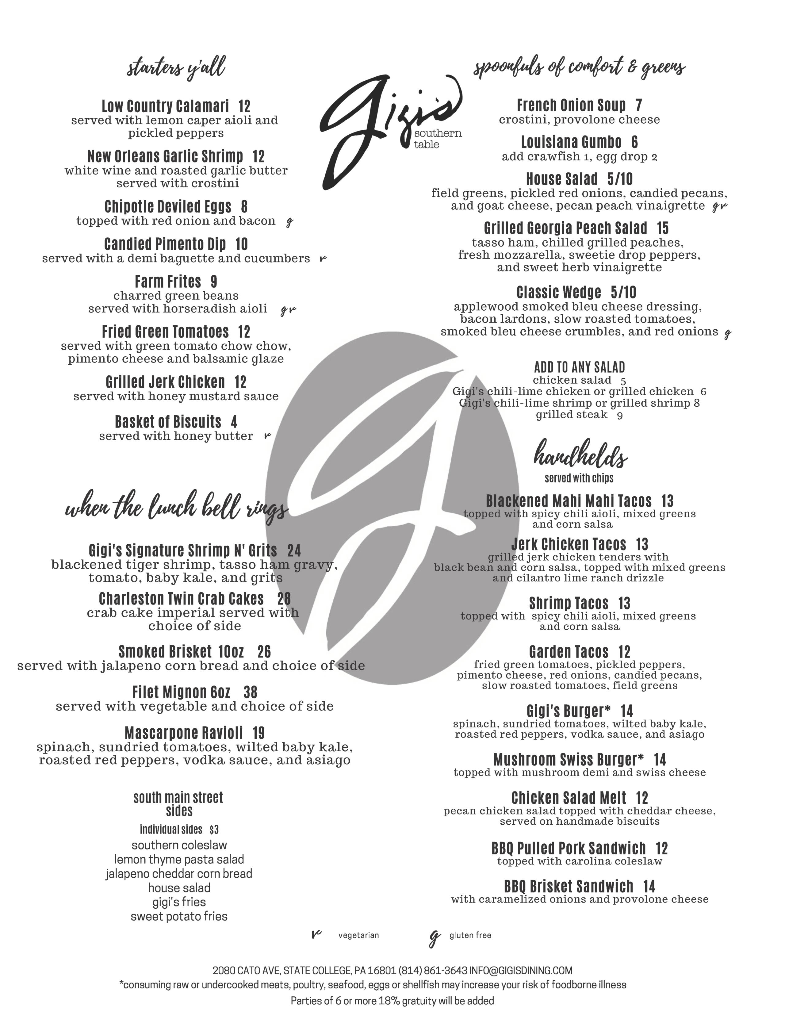 Gigi's Lunch menu
