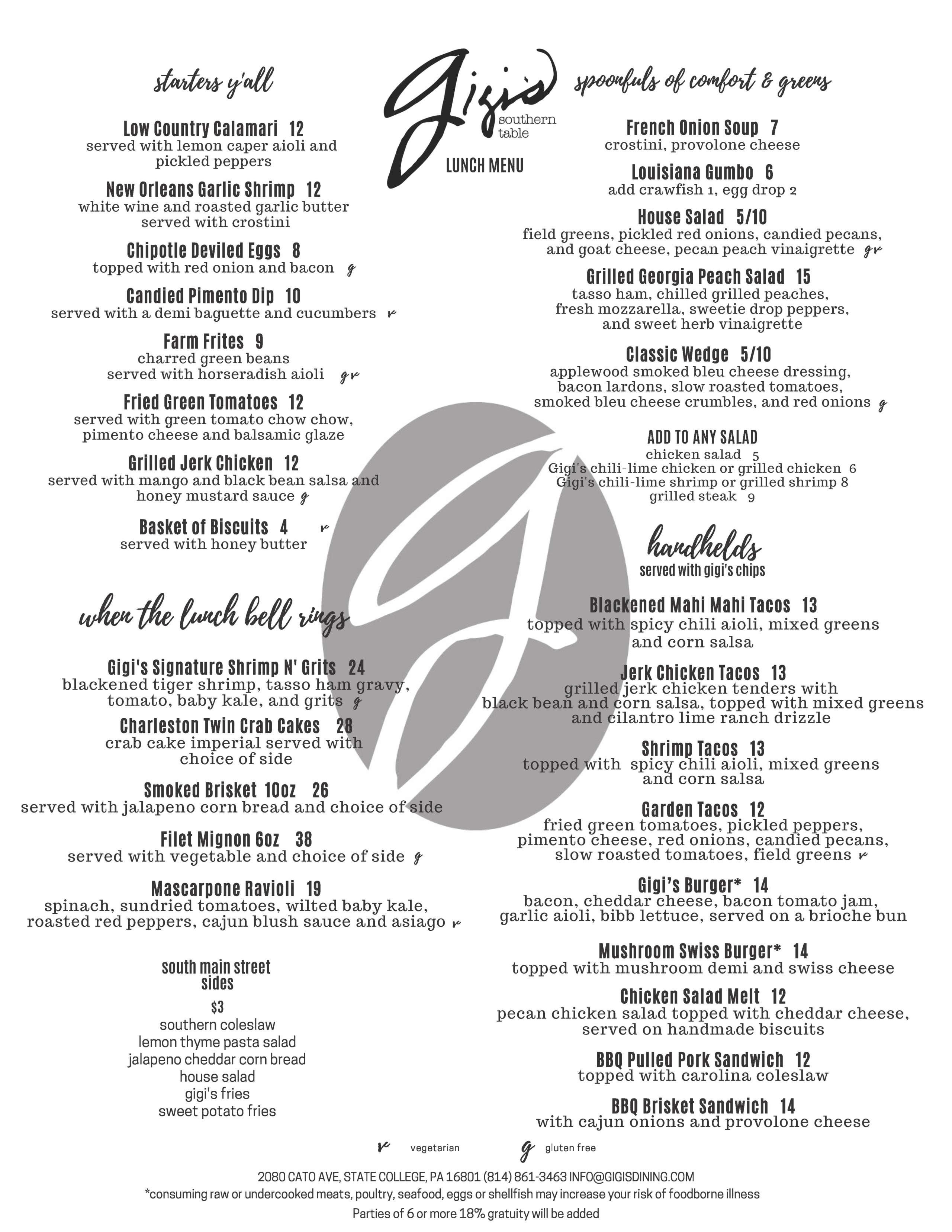 Gigi's Lunch Menu