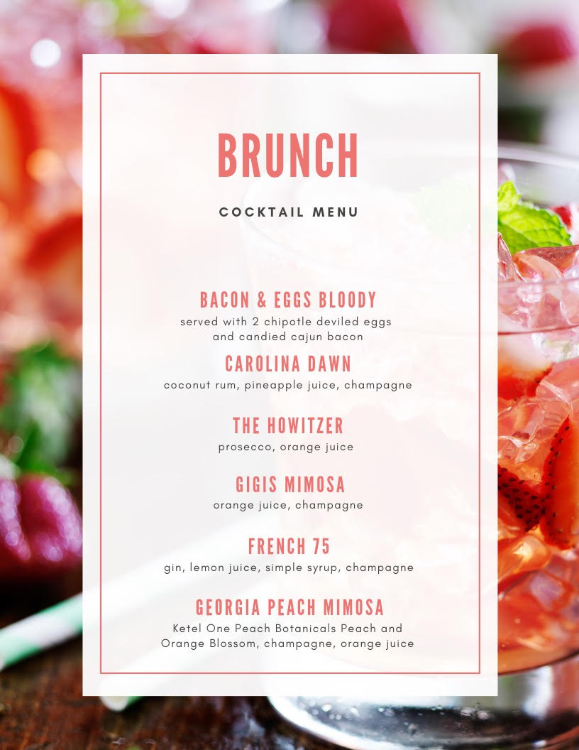 Gigi's Brunch Cocktail Menu