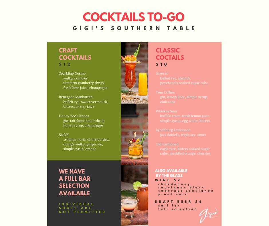 Gigi's To-Go Cocktail Menu