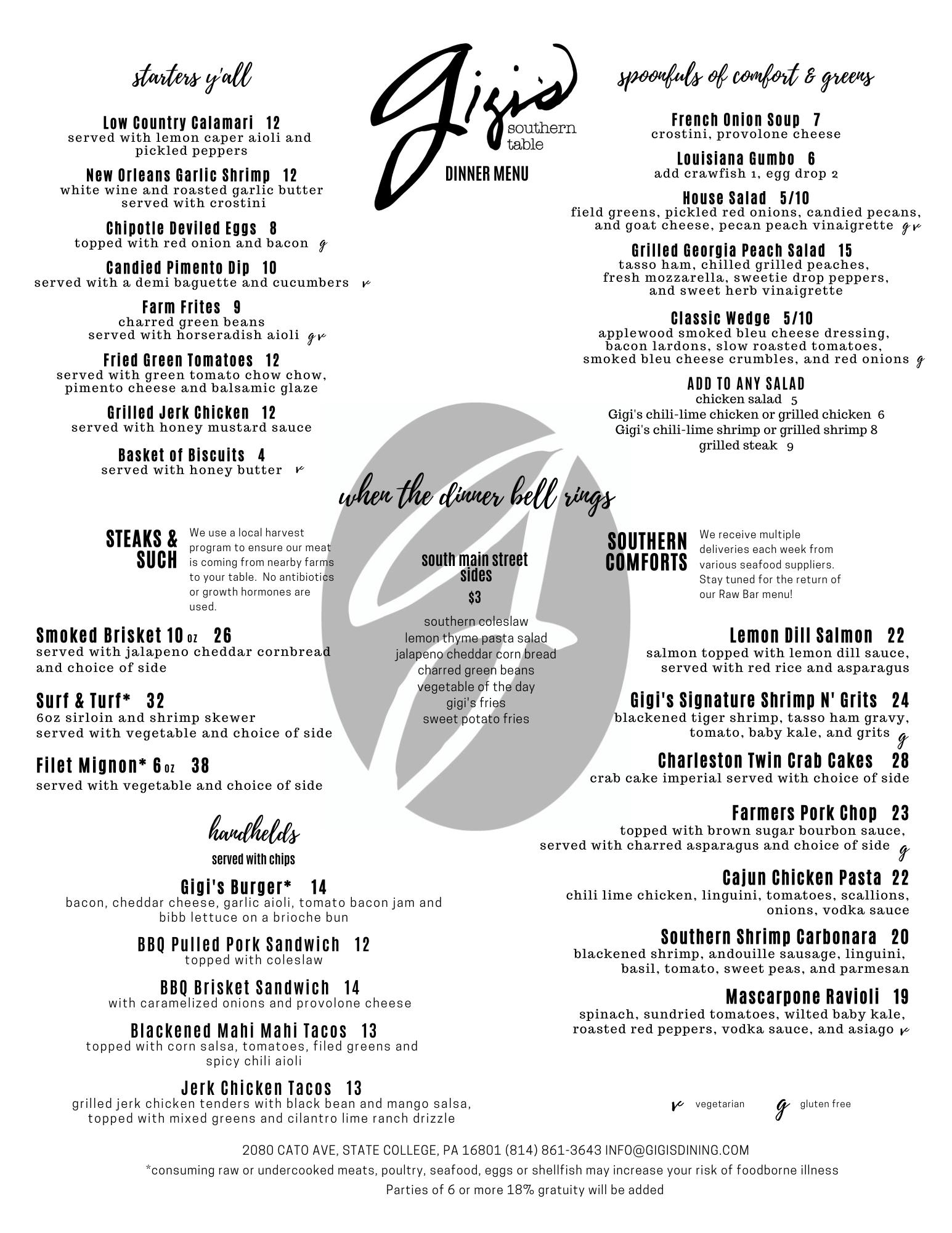 gigis dinner menu june 2020