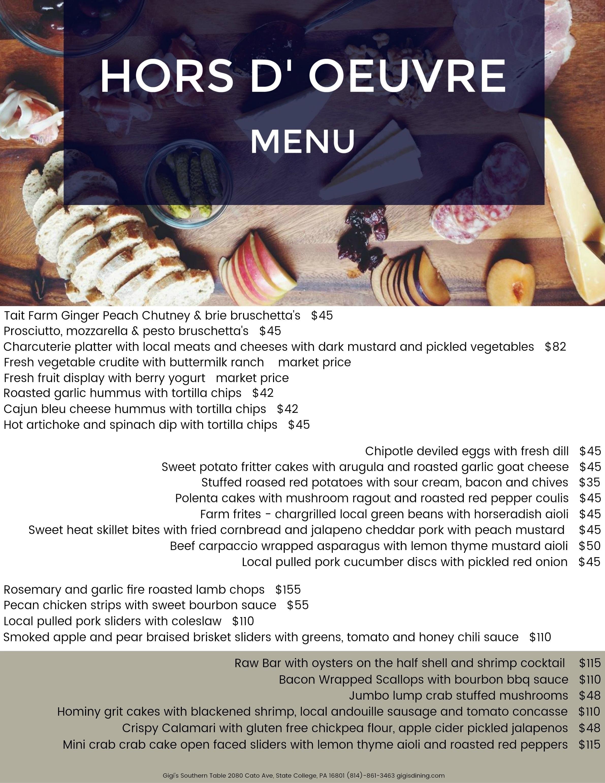horsdouvre menu